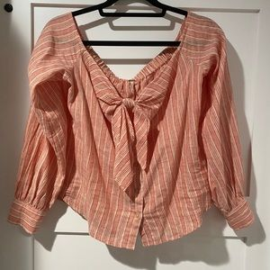 Free People Tops - Free people linen blend off the sleeve stripe top